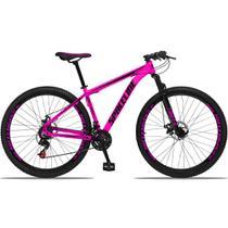 Bicicleta Aro 29 Quadro 19 Alumínio 21v com Suspensão e Freio Disco Orion Rosa/Preto - Spaceline -