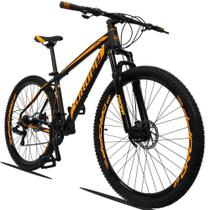 Bicicleta Aro 29 Quadro 19 Alumínio 21v Suspensão Freio a Disco Mecânico Z3 Preto Laranja - Dropp -