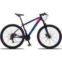 Bicicleta Aro 29 Quadro 19 Alumínio 21v Suspensão Freio Disco Mecânico Z3 Preto/Azul/Rosa - Dropp -