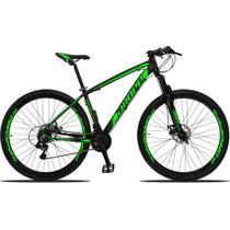 Bicicleta Aro 29 Quadro 19 Alumínio 21v Suspensão Freio Disco Mecânico Z3 Preto/Verde - Dropp -