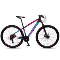 Bicicleta Aro 29 Quadro 19 Alumínio 24 Marchas Freio Disco Mecânico Z4-X Preto/Rosa Azul - Dropp -