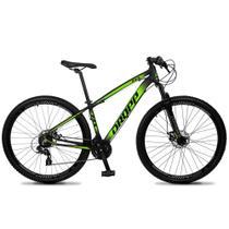 Bicicleta Aro 29 Quadro 19 Alumínio 24v Suspensão Trava Freio Hidráulico Z4-X Preto/Verde - Dropp -