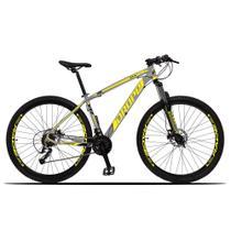 Bicicleta Aro 29 Quadro 19 Alumínio 27 Marchas Freio Disco Hidráulico Z3-X Cinza/Amarelo - Dropp -
