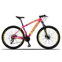 Bicicleta Aro 29 Quadro 19 Alumínio 27 Marchas Freio Disco Hidráulico Z3-X Rosa/Amarelo - Dropp -