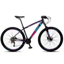 Bicicleta Aro 29 Quadro 19 Alumínio 27v Freio Hidráulico Volcon Preto/Rosa/Azul - GT Sprint - Dropp