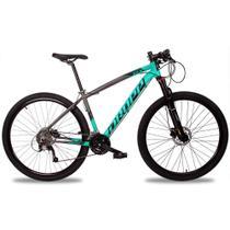Bicicleta Aro 29 Quadro 19 Alumínio 27v Suspensão Trava Freio Hidráulico Z7-X Cinza/Anis - Dropp -