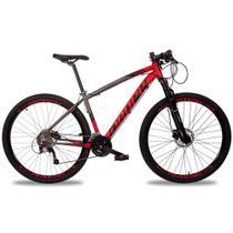Bicicleta Aro 29 Quadro 19 Alumínio 27v Suspensão Trava Freio Hidráulico Z7-X Cinza/Vermelho - Dropp -