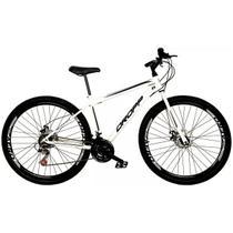 Bicicleta Aro 29 Quadro 19 Freio a Disco Mecânico 21 Marchas Aço Branco Preto - Dropp -