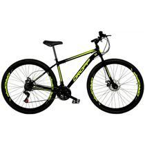 Bicicleta Aro 29 Quadro 19 Freio a Disco Mecânico 21 Marchas Aço Preto Amarelo - Dropp -