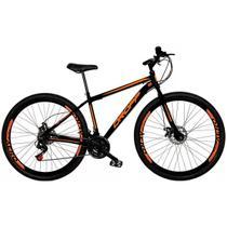 Bicicleta Aro 29 Quadro 19 Freio a Disco Mecânico 21 Marchas Aço Preto Laranja - Dropp -