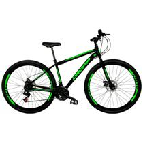 Bicicleta Aro 29 Quadro 19 Freio a Disco Mecânico 21 Marchas Aço Preto Verde - Dropp -