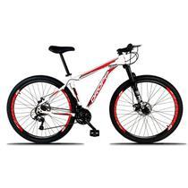 Bicicleta Aro 29 Quadro 19 Freio a Disco Mecânico 21 Marchas Alumínio Branco Vermelho - Dropp -
