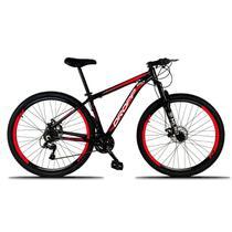 Bicicleta Aro 29 Quadro 19 Freio a Disco Mecânico 21 Marchas Alumínio Preto Vermelho - Dropp -