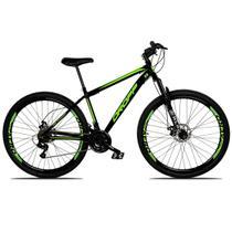 Bicicleta Aro 29 Quadro 19 Freio a Disco Mecânico 21 Marchas Suspensão Aço Preto Verde - Dropp -