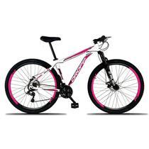 Bicicleta Aro 29 Quadro 19 Freio a Disco Mecânico 21 Marchas Suspensão Alumínio Branco Rosa - Dropp -