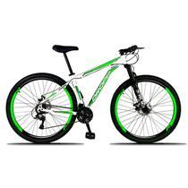 Bicicleta Aro 29 Quadro 21 a Freio Disco Mecânico 21 Marchas Alumínio Branco Verde - Dropp -
