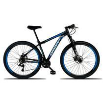 Bicicleta Aro 29 Quadro 21 a Freio Disco Mecânico 21 Marchas Alumínio Preto Azul - Dropp -