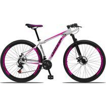 Bicicleta Aro 29 Quadro 21 Alumínio 21 Marchas Freio a Disco Mecânico Branco/Rosa - Dropp -