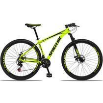 Bicicleta Aro 29 Quadro 21 Alumínio 21v com Suspensão e Freio Disco Orion Amarelo/Preto - Spaceline -