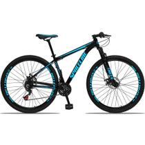 Bicicleta Aro 29 Quadro 21 Alumínio 21v com Suspensão e Freio Disco Orion Preto/Azul - Spaceline -