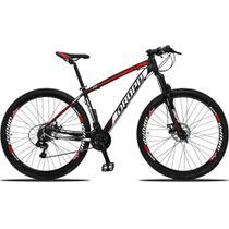 Bicicleta Aro 29 Quadro 21 Alumínio 21v Suspensão Freio Disco Mecânico Z3 Preto/Red/Branco - Dropp -