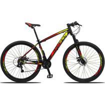 Bicicleta Aro 29 Quadro 21 Alumínio 21v Suspensão Freio Disco Mecânico Z3 Preto/Red/Yellow - Dropp -