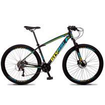 Bicicleta Aro 29 Quadro 21 Alumínio 27v Freio Hidráulico Volcon Preto/Amarelo/Azul - GT Sprint - Dropp