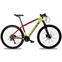 Bicicleta Aro 29 Quadro 21 Alumínio 27v Suspensão Freio Hidráulico Z7-X Amarelo/Vermelho - Dropp -