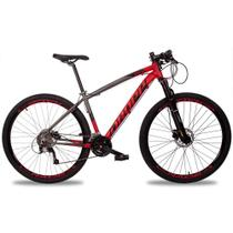 Bicicleta Aro 29 Quadro 21 Alumínio 27v Suspensão Trava Freio Hidráulico Z7-X Cinza/Vermelho - Dropp -