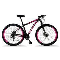 Bicicleta Aro 29 Quadro 21 Freio a Disco Mecânico 21 Marchas Alumínio Preto Rosa - Dropp -