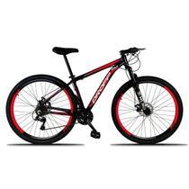 Bicicleta Aro 29 Quadro 21 Freio Disco Mecânico 21 Marchas Alumínio Preto Vermelho - Dropp -