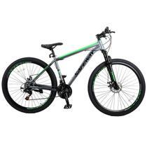 Bicicleta Aro 29 Safeway Aço Carbono 21 marchas Shimano Freio a Disco e Suspensão Cinza e Verde -