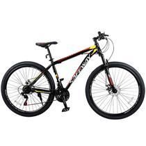 Bicicleta Aro 29 Safeway Aço Carbono 21 marchas Shimano Freio a Disco e Suspensão Preto e Vermelho -