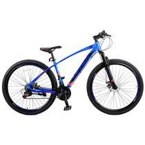 Bicicleta Aro 29 Safeway Aluminio 21 marchas Shimano Freio a Disco e Suspensão Azul e Preto -