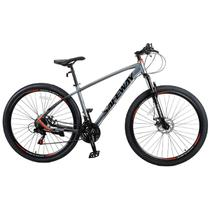 Bicicleta Aro 29 Safeway Aluminio 21 marchas Shimano Freio a Disco e Suspensão Cinza -