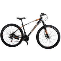 Bicicleta Aro 29 Safeway Aluminio 21 marchas Shimano Freio a Disco e Suspensão Preto e Laranja -