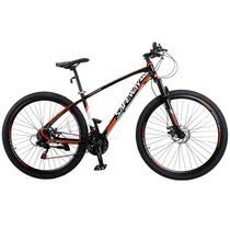 Bicicleta Aro 29 Safeway Aluminio 21 marchas Shimano Freio a Disco e Suspensão Preto e Vermelho -