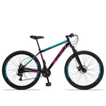 Bicicleta Aro 29 Spaceline Moon 21v Freio a Disco c/ Suspensão Preto Rosa e Azul -