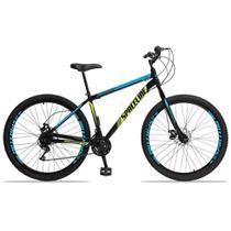 Bicicleta Aro 29 Spaceline Moon 21v Freio a Disco Preto Amarelo e Azul -