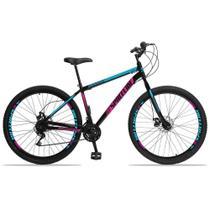 Bicicleta Aro 29 Spaceline Moon 21v Freio a Disco Preto Rosa e Azul -
