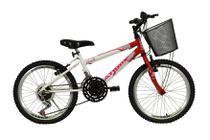 Bicicleta athor aro 20 mtb 18/m charmy feminino c/ cestão - vermelha -
