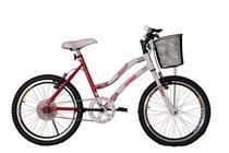 Bicicleta athor aro 20 mtb s/m melissa feminino c/ cestão - vermelha -