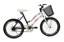Bicicleta athor aro 20 mtb s/m melissa feminino c/ cestão - violeta -