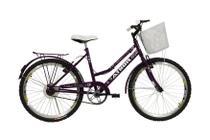 Bicicleta athor aro 24 nature freio v- brake c/ cestão - violeta -