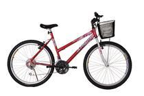 Bicicleta athor aro 26 mtb 18/m model feminino c/ cestão - vermelha -
