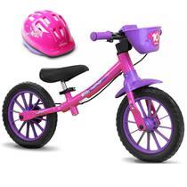 Bicicleta Balance Bike de Equilíbrio sem Pedal Feminina Com Capacete - Nathor