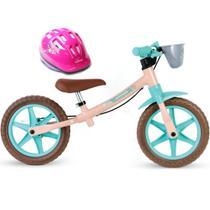 Bicicleta Balance Bike de Equilíbrio sem Pedal Feminina Love com Capacete Rosa - Nathor