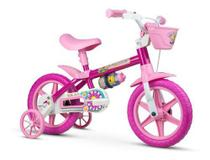 Bicicleta Bicicletinha Infantil Aro 12 Flower Rosa - Nathor -