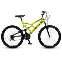Bicicleta Bike Aro 26 Dupla Suspensão Freio Vbreak 21 marchas Masculina Feminina - Amarelo Neon - Colli Bike