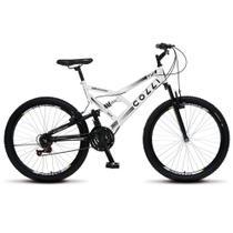 Bicicleta Bike Aro 26 Dupla Suspensão Freio Vbreak 21 marchas Masculina Feminina - Branco - Colli Bike